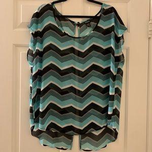 NWOT TORRID blouse green/black w/an open back